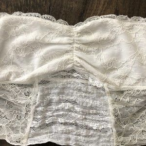 Free People Intimately Strapless White Lace Bra